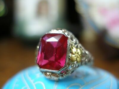 Antique 14K White Gold Filigree Roses Yg Ruby Red Ring Art Deco 20's Emerald Cut