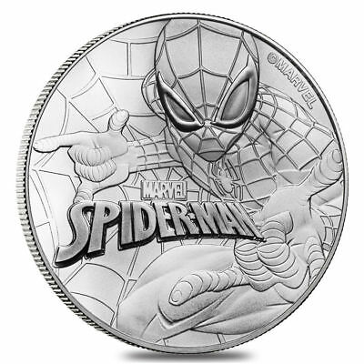 2017 1 Oz Tuvalu Marvel Series - Spiderman .9999 Silver Coin BU in Mint Capsule