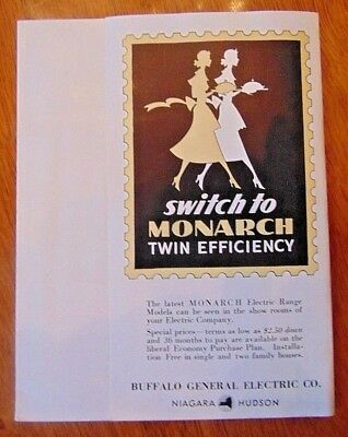 Vintage 1930's Monarch Kitchen Stove Brochure Buffalo General Electric Ny