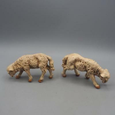 Vintage Pair of Plastic Lamb Sheep Nativity Scene Figurine