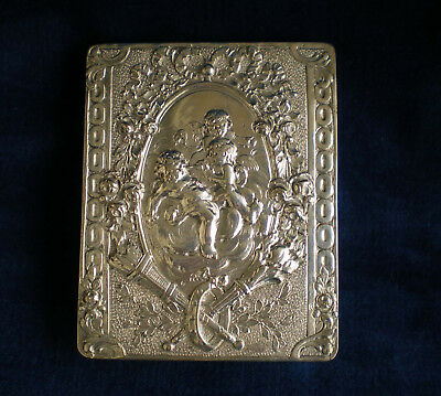 Antique German 800 Silver high relief embossed  Calling Card Case 96g