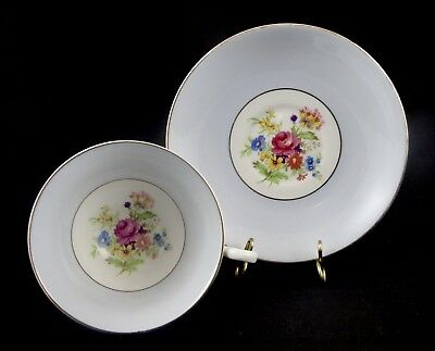 Beautiful Rosina Bone China Cup & Saucer Floral Center Pale Blue & Gold Bands