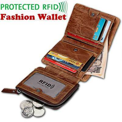 Genuine Leather Men's Wallet Zipper Short Coin Purse RFID Antimagnetic Trifold