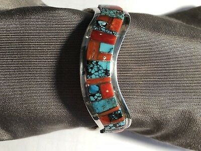 Native American Sterling Silver Bracelet With Turquoise And Spiny Oyster Inlay