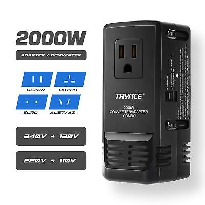 TryAce 2000W Worldwide Travel Converter and Adapter for Hair Dryer Phones Laptop