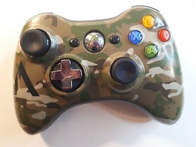 Microsoft Xbox 360 Camo Camouflage Gamepad Wireless Controller - No Back -TESTED