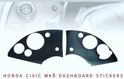 Honda Civic Mk8 Pre-Cut Sticker Dashboard Carbon Fibre Vinyl 06-12 Fn2 Rhd Lhd