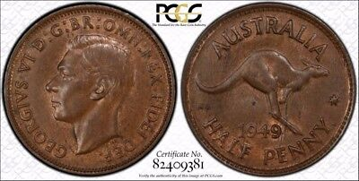 Australia 1949 (p) Half Penny 1/2D graded MS62BN by PCGS
