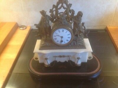 French Marble And Shelter Drum Clock And Stand