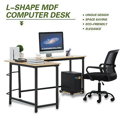 L-Shaped Corner Office Computer Desk PC Laptop Table Workstation W/CPU Stand