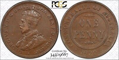 Australia 1920  . Dot Below Indian Obverse One Penny 1D graded VF35BN by PCGS