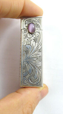 ITALIAN VINTAGE lipstick case holder SILVER 800 1950C vanity COSMETIC LADY