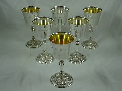 STUNNING set x 6 solid sterling silver WINE GOBLETS, 1972, 1206gm