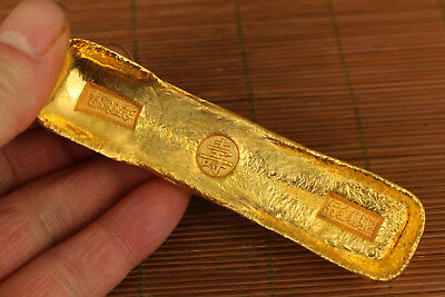 Valuable old brass not gold Hand carving qing dynasty guangxu bite mark coin