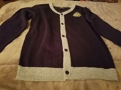 Harry Potter Hogwarts Button Down Navy Cardigan Sweater Size XL NWT FREE SHIP