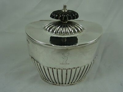 LARGE, CRESTED late VICTORIAN , solid silver TEA CADDY, 1900, 258gm