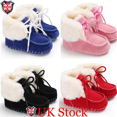 UK Infant Toddler Baby Girls Boots Boys Kids Winter Thick Snow Boots Fur Shoes