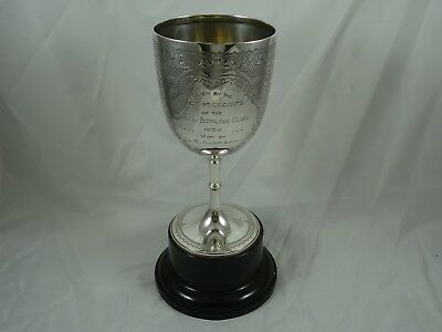 LARGE VICTORIAN solid silver PRESENTATION  `BOWLING ` CUP, 1898, 384gm