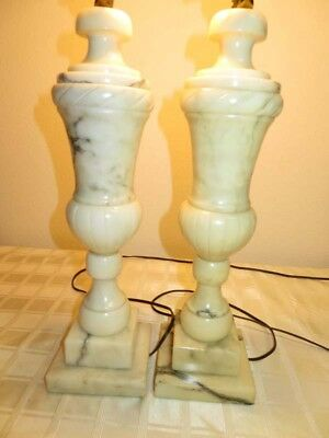 Mid Century Modern PAIR Italian Alabaster Marble Carved Lamps
