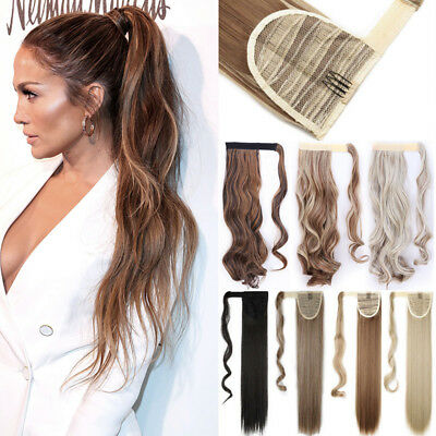 100% Natural Clip In Ponytail Hair Extensions Straight Wavy Wrap Pony Tail Fnk