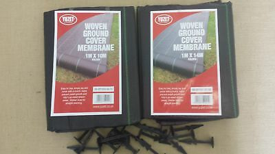 2 x Yuzet 1m x10m + 80 pegs weed control fabric ground cover membrane landscape