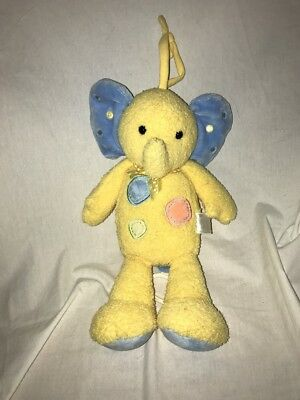 Carters Stuffed Plush Blue Yellow Musical Elephant Crib Pull Toy Baby Lovey *2*