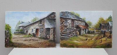 2 Old small paintings farm scenes signed S Allen