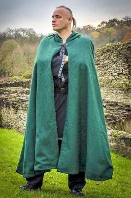 Wool Cloak with cotton linning, LARP Medieval Reenactment Fancydress, 5 colours
