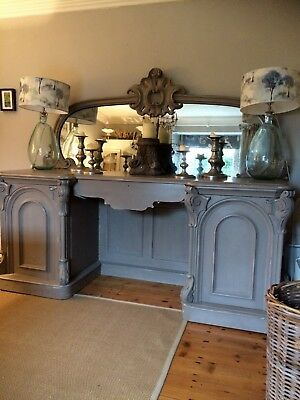 Large Painted Chiffonier with Beautiful Foxed Mirror