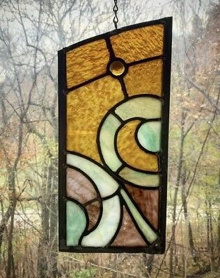 Architectural Salvage Leaded Church Stained Glass- Amber, Green, Maroon, Jewel