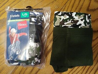 5 pair of boys youth hanes camo briefs large underwear new