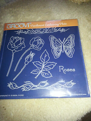 Parchment Craft.  Clarity Stamp Groovi (TM) Embossing Plate - Jayne's Roses