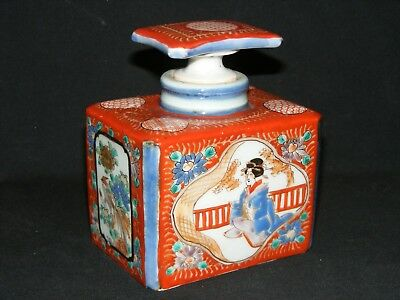 Circa 1850 Antique Japanese Hand Painted Porcelain Tea Caddy And Stopper