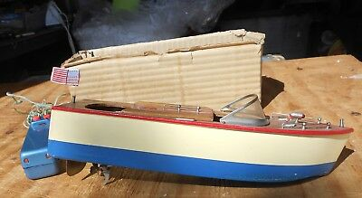 1950's Old Remote Control Electric Toy Motor Runner Boat Speedboat Boxed