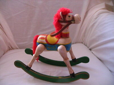 Vintage Rocking Horse Hand Crafted Wood With Red Yarn Mane & Tail
