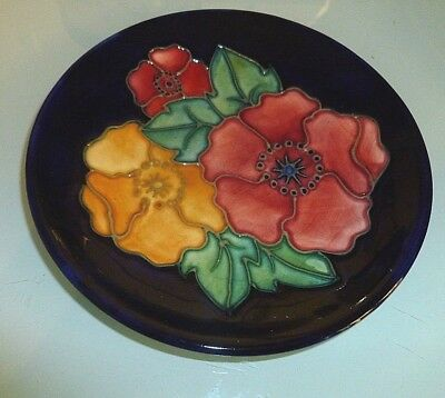 "Moorcroft ""poppy"" Trial Plate/dish 1996"