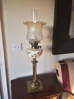 Antique Victorian Hand Painted Brass Paraffin Lamp