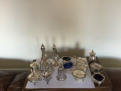Very Large Lot Of 16 Cruets Those With Blue Liners Have Them  Some With Spoons