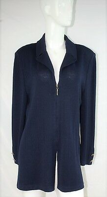 ST. JOHN COLLECTION by Marie Gray Navy Blue Santana Knit Zip Cardigan Jacket 16