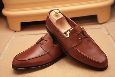 John Lobb Men's Tan Leather Laced Loafers Shoes UK 10.5