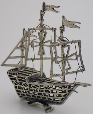 Vintage Solid Silver Italian Made Large Vessel Ship Miniature, Figurine, Stamped