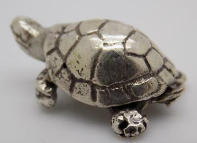 Vintage Solid Silver Italian Made Turtle Figurine, Miniature, Stamped