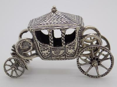 Vintage Solid Silver Italian Made Large Royal Carriage Miniature, Figurine,Stamp