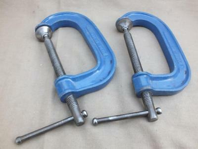 Superb Quality Pair Of Record 4 Inch G Clamps Cramps Made In England