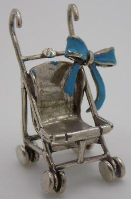 Vintage Solid Silver Italian Made Stroller Ribbon Miniature, Figurine, Stamped
