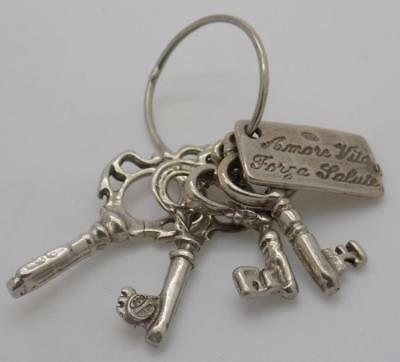 Vintage Solid Silver Italian Made Keys to Happiness Miniature, Figurine, Stamped