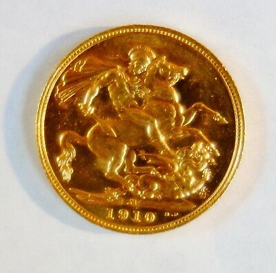 1910 M Great Britain London Mint Sovereign Edward Vii .2354 Agw - No Reserve