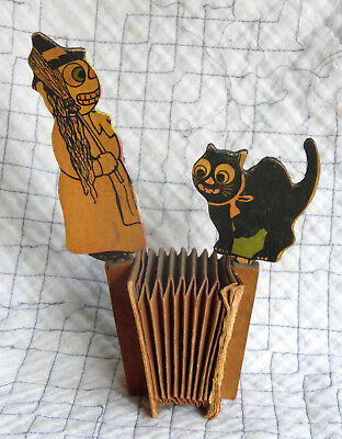 Vintage German Witch and Cat Accordian Squeaker Noisemaker Germany 1920's WORKS!