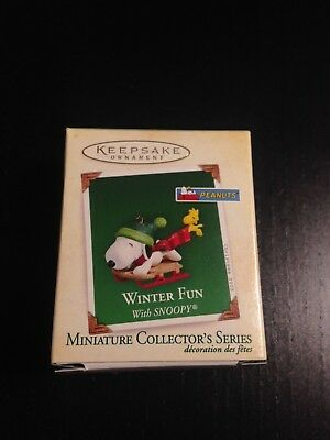 Hallmark 2005  Winter Fun With Snoopy Miniature Ornament Peanuts Woodstock New