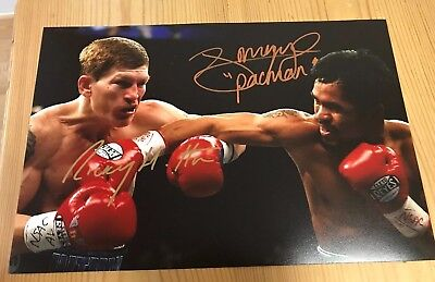 Ricky Hatton & Manny Pacquiao Signed Boxing Picture 12x8